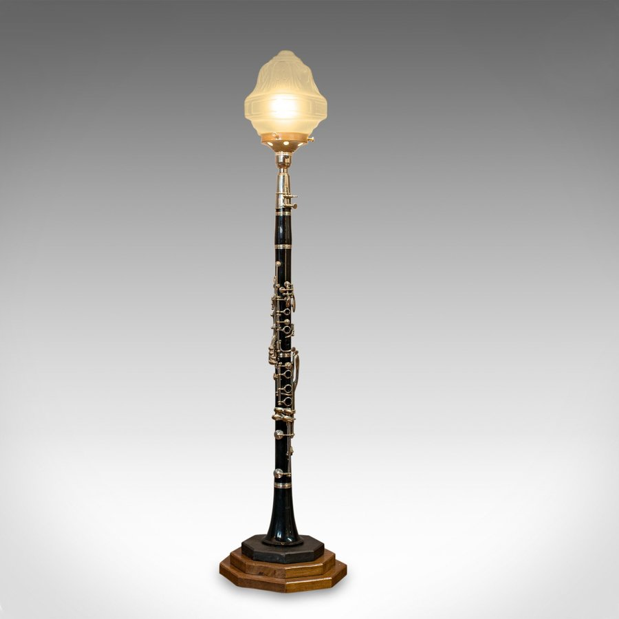 Vintage Clarinet Lamp, Bespoke, Handmade, Table, Light, Crafted, Instrument