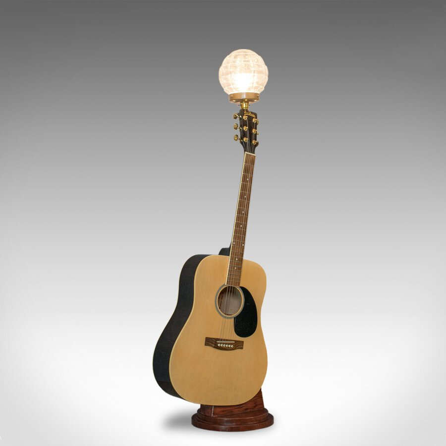 Vintage, Acoustic Guitar Lamp, English, Bespoke, Handcrafted, Jim Deacon, Glass