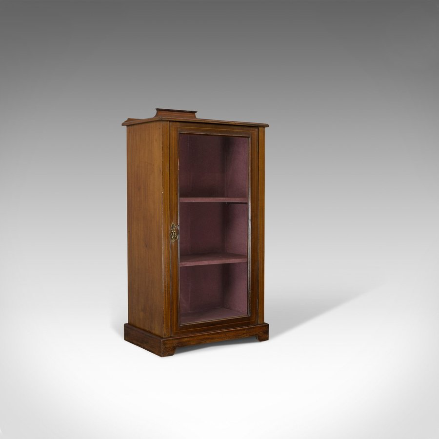 Antique Pier Cabinet, English, Mahogany, Display, Showcase, Late 19th Century