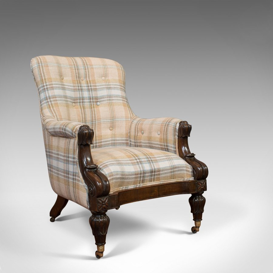 Antique Gentleman's Armchair, Rosewood, Fireside, Club Chair, William IV, c1835