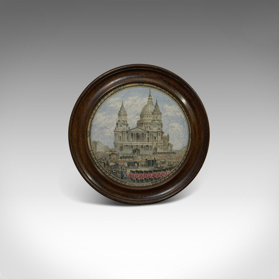 Antique Prattware Jar Lid, English, Mahogany, Ceramic, Duke of Wellington