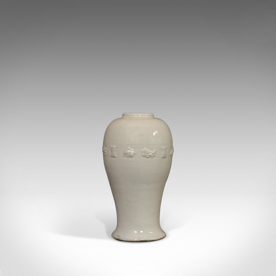 Antique Celadon Vase, Oriental, Decorative, Ceramic, Baluster, Urn, 19th Century