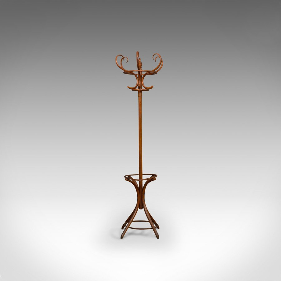 Antique Antique Bentwood Coat Rack, Hall Stand, English, Beech, Umbrella, Edwardian