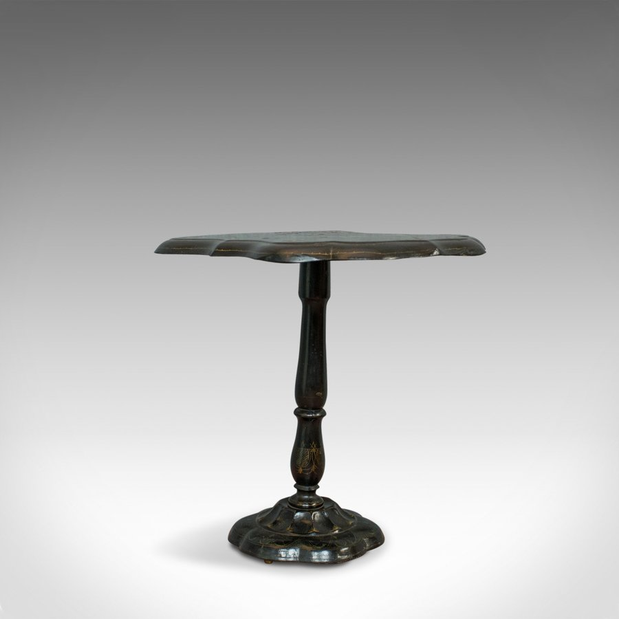 Antique Table, Ebonised, Papier Mache, Mother of Pearl, Side, Lamp, Wine, Tilt