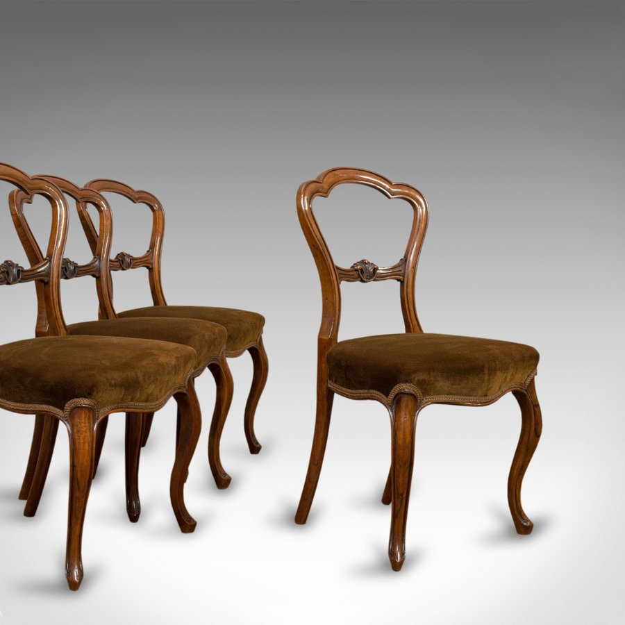 Antique Set of Chairs, English, Walnut, Suite, 4 Dining Chairs, Victorian C.1840