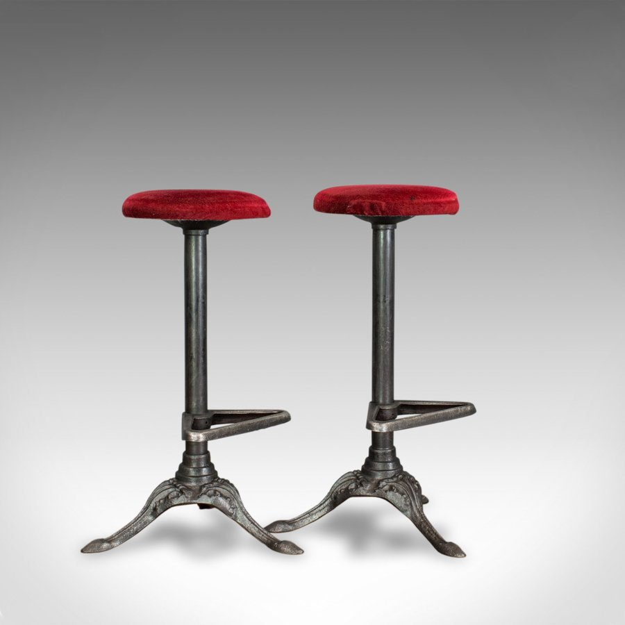 Vintage, Pair Of, Bar Stools, English, Cast Alloy, Victorian Taste, 20th Century