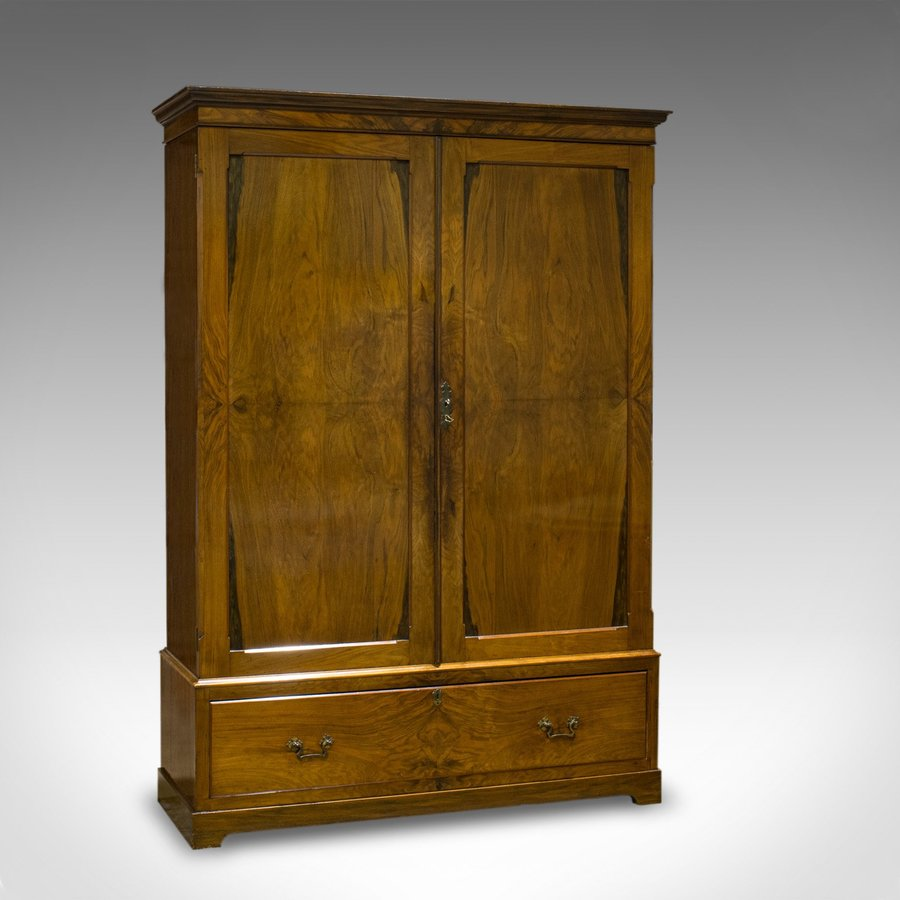 Antique Linen Press, French, Walnut, Wardrobe, Hanging Rail, Late 19th Century