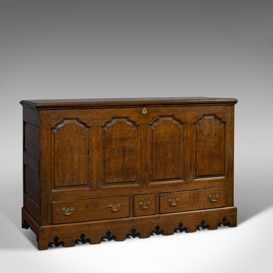 Antique Mule Chest, English, Georgian, Oak, Coffer, Trunk, 18th Century, C.1750