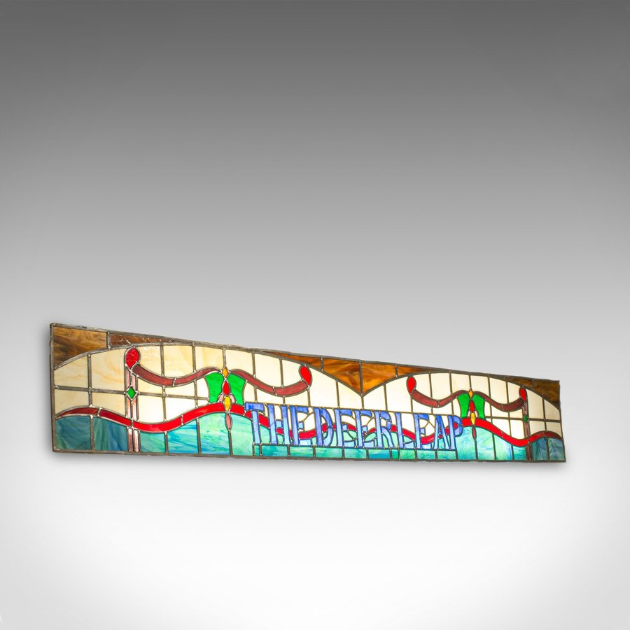 Vintage Stained Glass Window, English, Lead, Pub, Panel, Art Deco, 20th Century