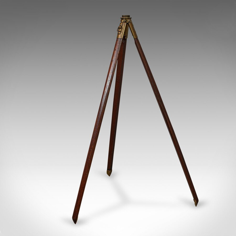 Antique Vintage Tripod, English, Mahogany, Bronze, Helio, Telescope, Stand, Circa 1940