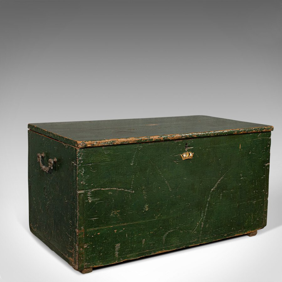 Antique Mail Trunk, English, Pine, Steamer, Carriage Chest, Edwardian, C.1905