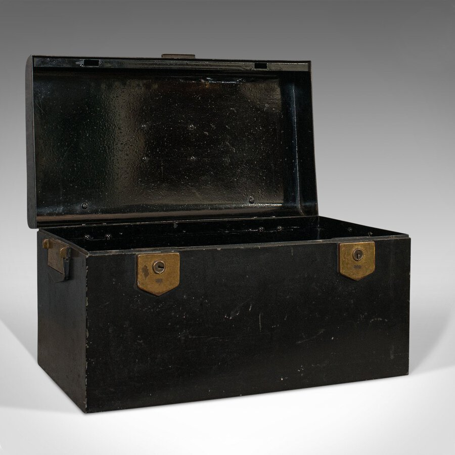 Antique Vintage Deed Box, English, Art Deco, Iron, Document, Deposit, Chest, Circa 1930
