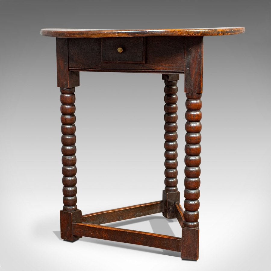 Antique Cricket Table, English, Elm, Lamp, Side, Victorian, Circa 1890
