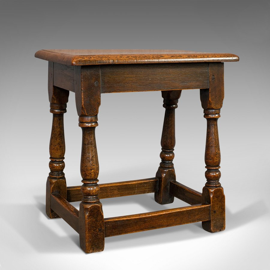 Antique Antique Tea Table, English, Oak, Joint Stool, Coffee, Victorian, Circa 1900