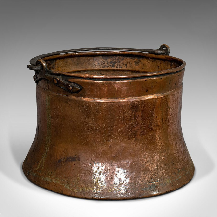 Large Antique Fire Bucket, English, Copper, Fireside, Log, Cauldron, Georgian