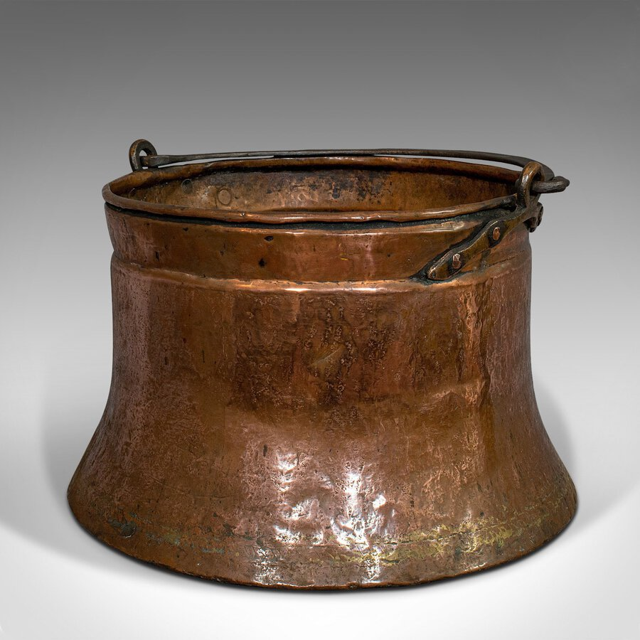 Antique Large Antique Fire Bucket, English, Copper, Fireside, Log, Cauldron, Georgian