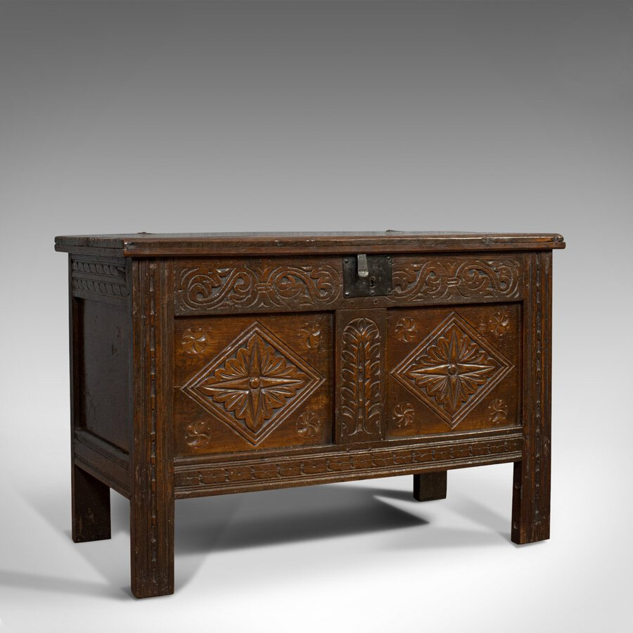 Compact Antique Coffer, English, Oak, Chest, Trunk, Early Georgian, Circa 1720