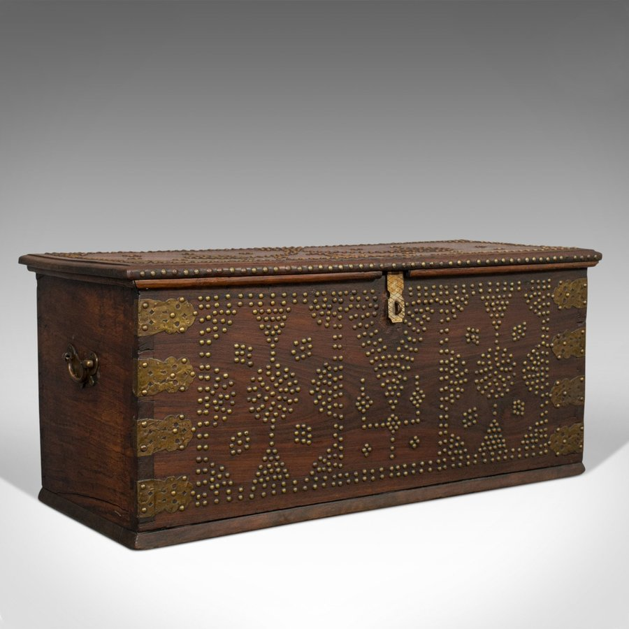 Vintage Travel Trunk, Oriental, Teak, Carriage Chest, Art Deco, Circa 1930