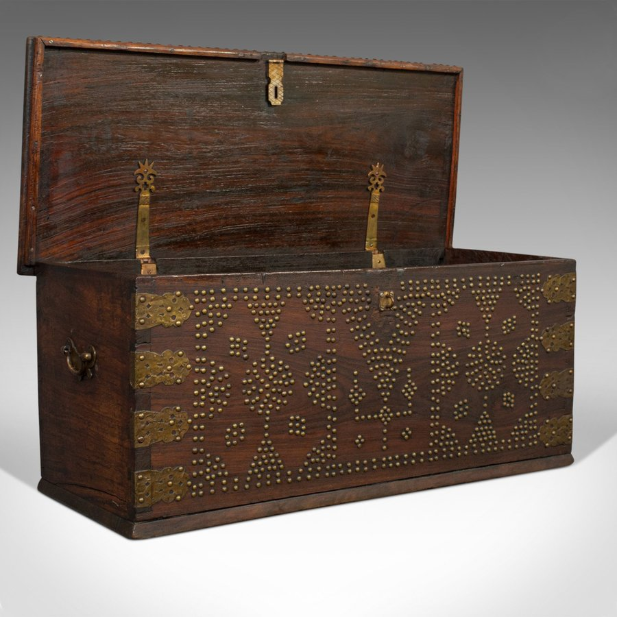 Antique Vintage Travel Trunk, Oriental, Teak, Carriage Chest, Art Deco, Circa 1930