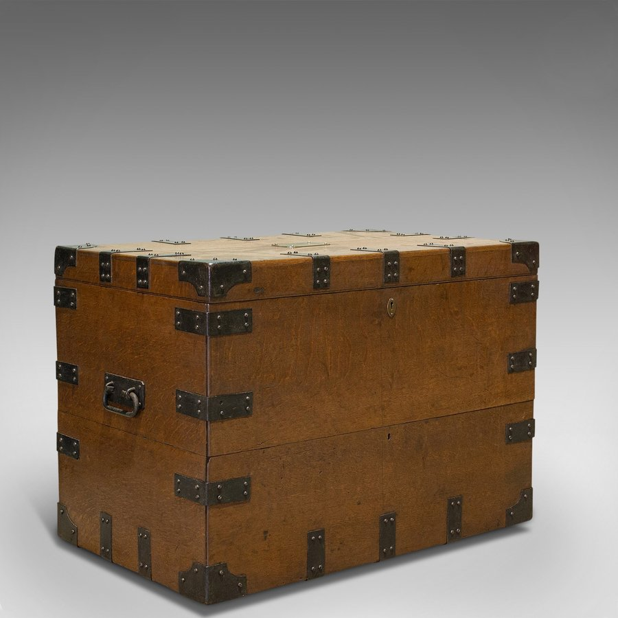 Antique Silver Chest, English, Oak, Iron, Trunk, Elkington and Co, Circa 1880