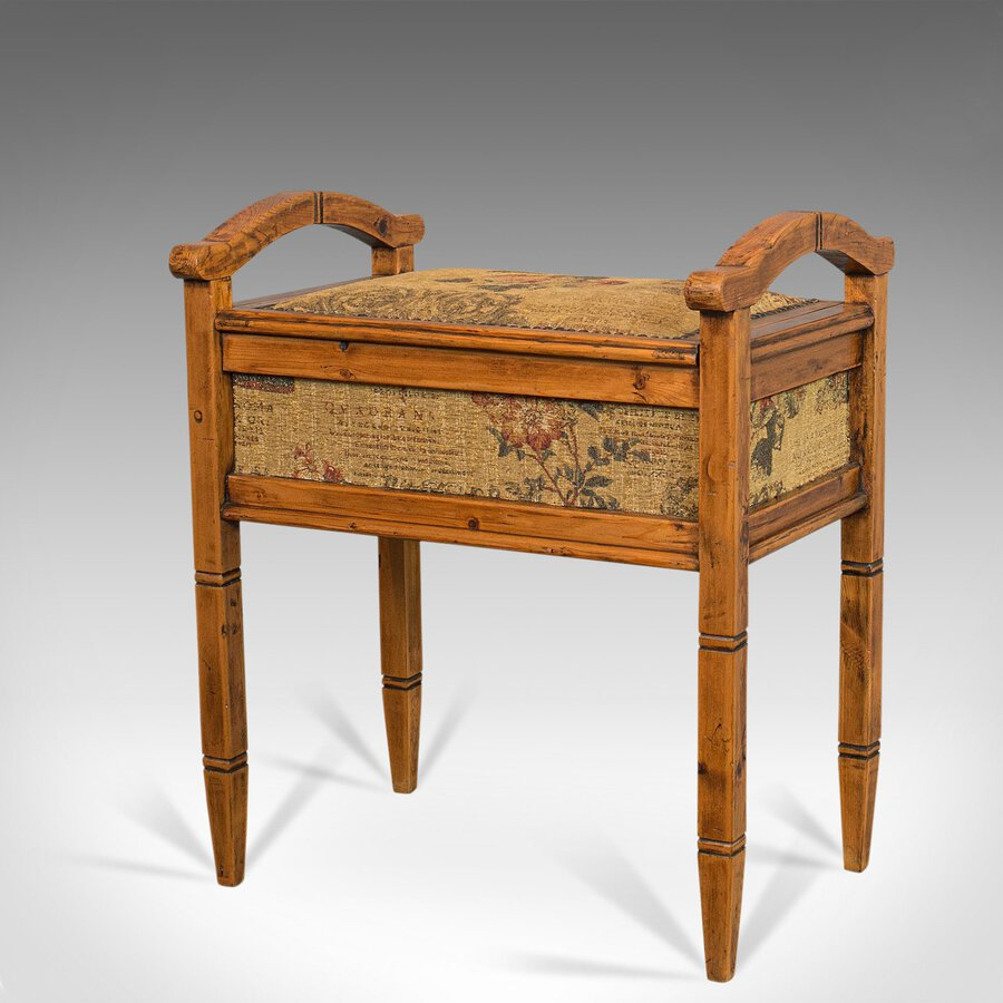 Antique Antique Music Locker Stool, English, Pine, Piano, Bench, Edwardian, Circa 1910
