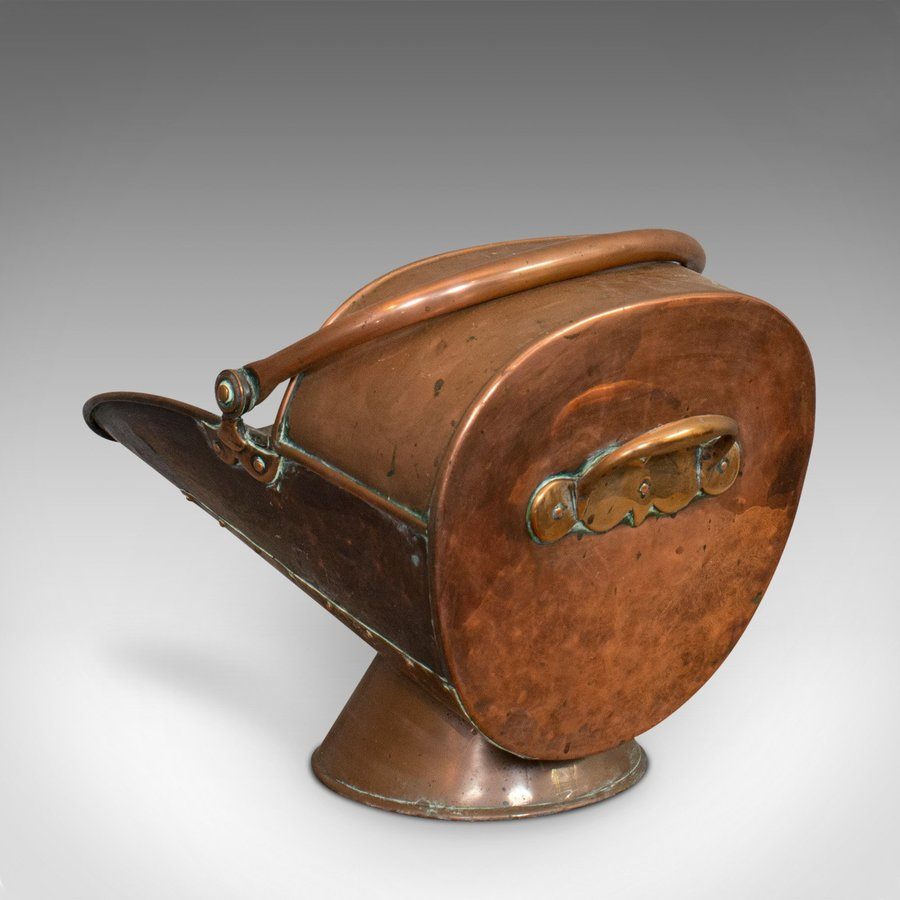 Antique Antique Coal Scuttle, English, Copper, Fireside, Coal, Log Bucket, Circa 1890