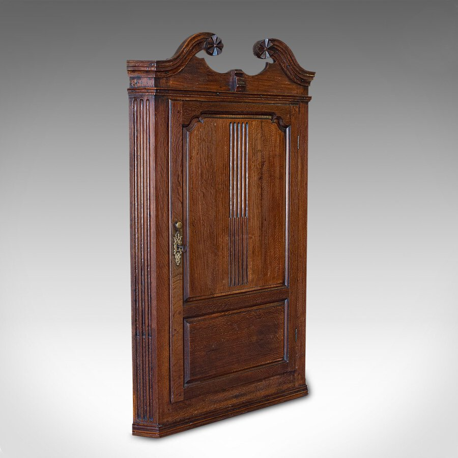 Antique Georgian Corner Cabinet, English, Oak, Wall Hanging Cupboard, Circa 1780
