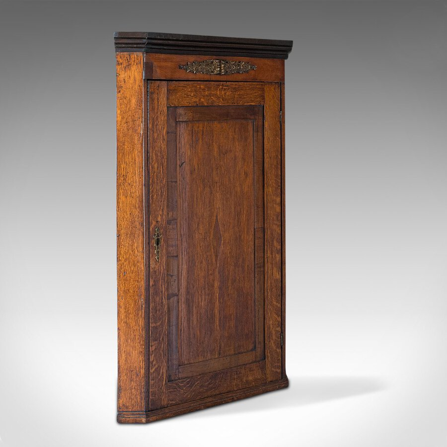Antique Corner Cabinet, English, Oak, Mahogany, Georgian, Hanging Cupboard, 1800