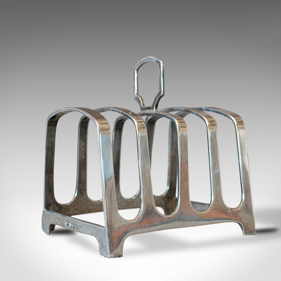 Small Vintage Toast Rack, English, Silver, Hallmarked, Breakfast, Circa 1947