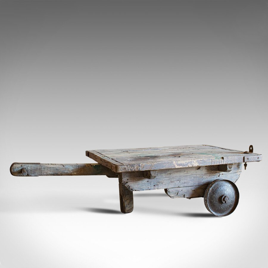 Antique Industrial Porterage Trolley, English, Pine, Railway, Factory, C.1900