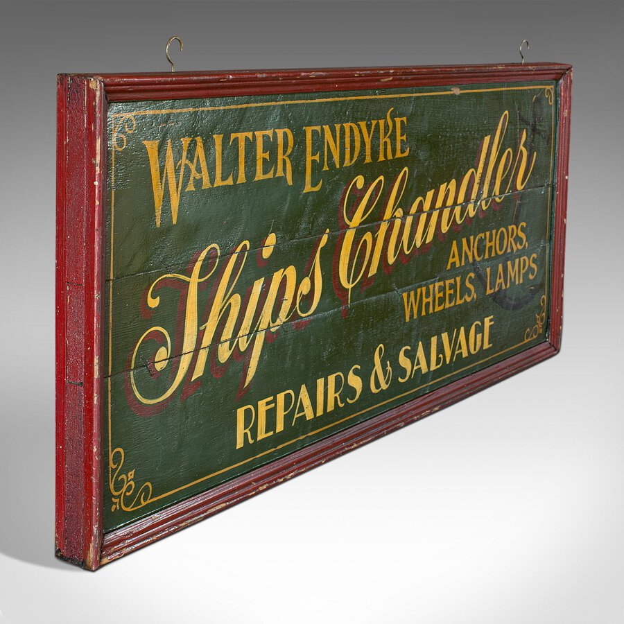 Vintage Shop Sign, English, Pine, Chandler, Hand-Painted, Sign Written, C.1930