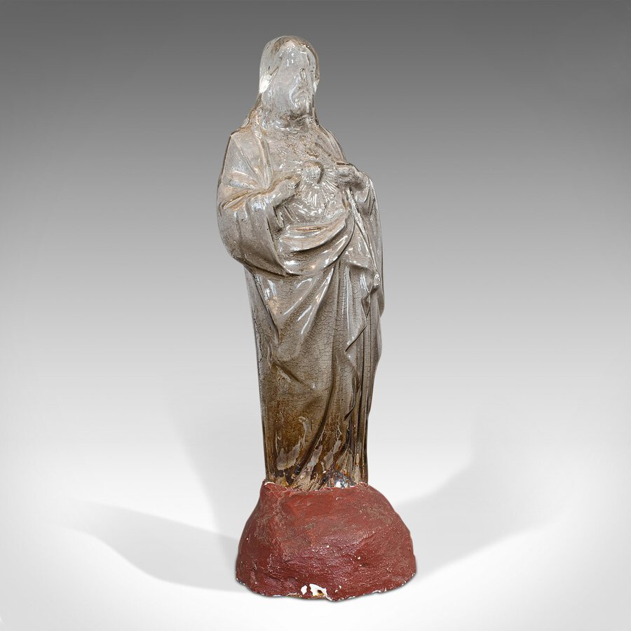 Antique Bonbon Jar, French, Glass, Fin De Siecle, Statue, Jesus Christ, 1900