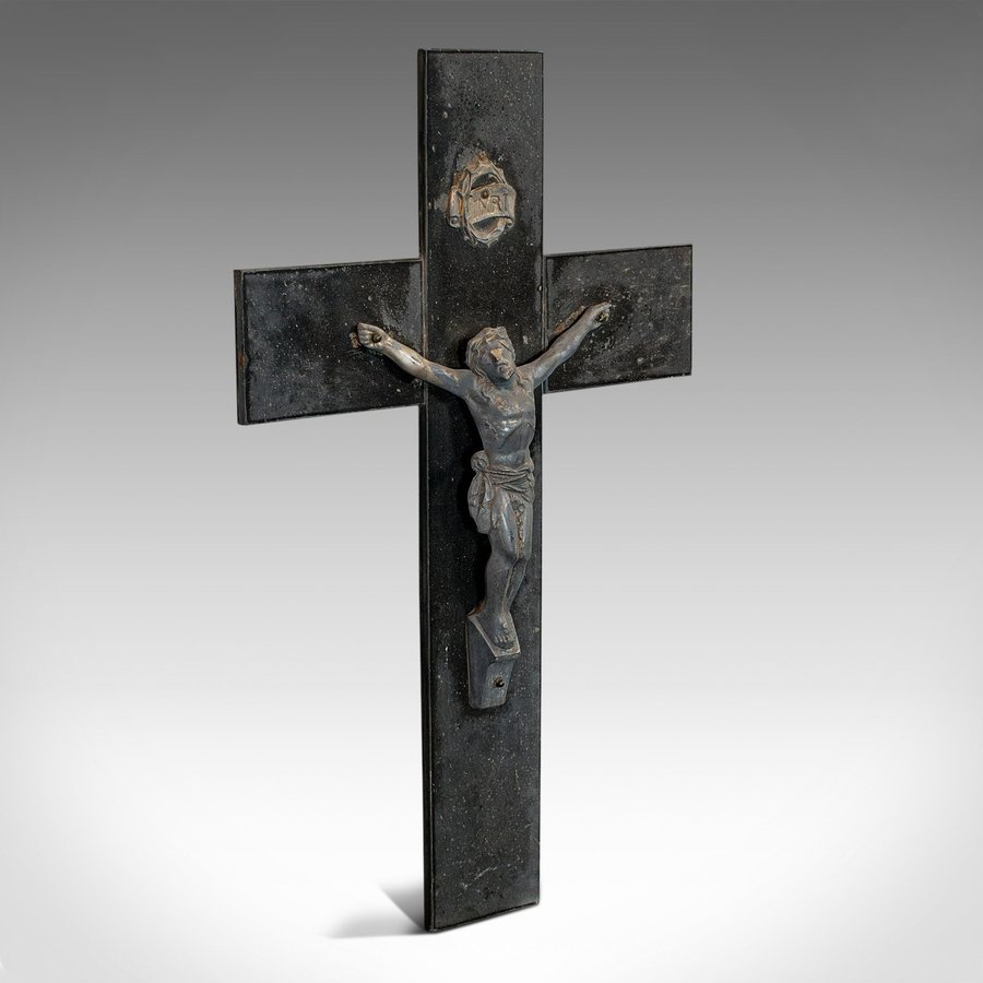 Antique Wall Crucifix, English, Bronze Spelter, Slate, Jesus Christ On Cross