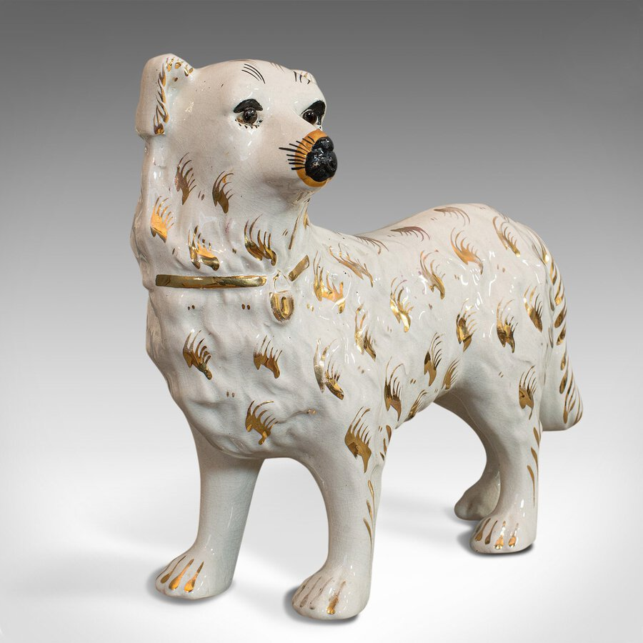 Antique Pair Of Antique Staffordshire Dogs, English, Ceramic, Decorative, Figure, C.1900