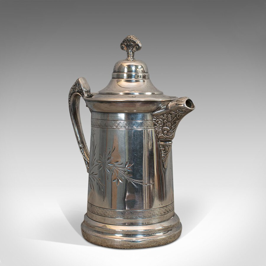 Antique Coffee Pot, English, Silver Plate, Beverage Jug, 19th Century, C.1900