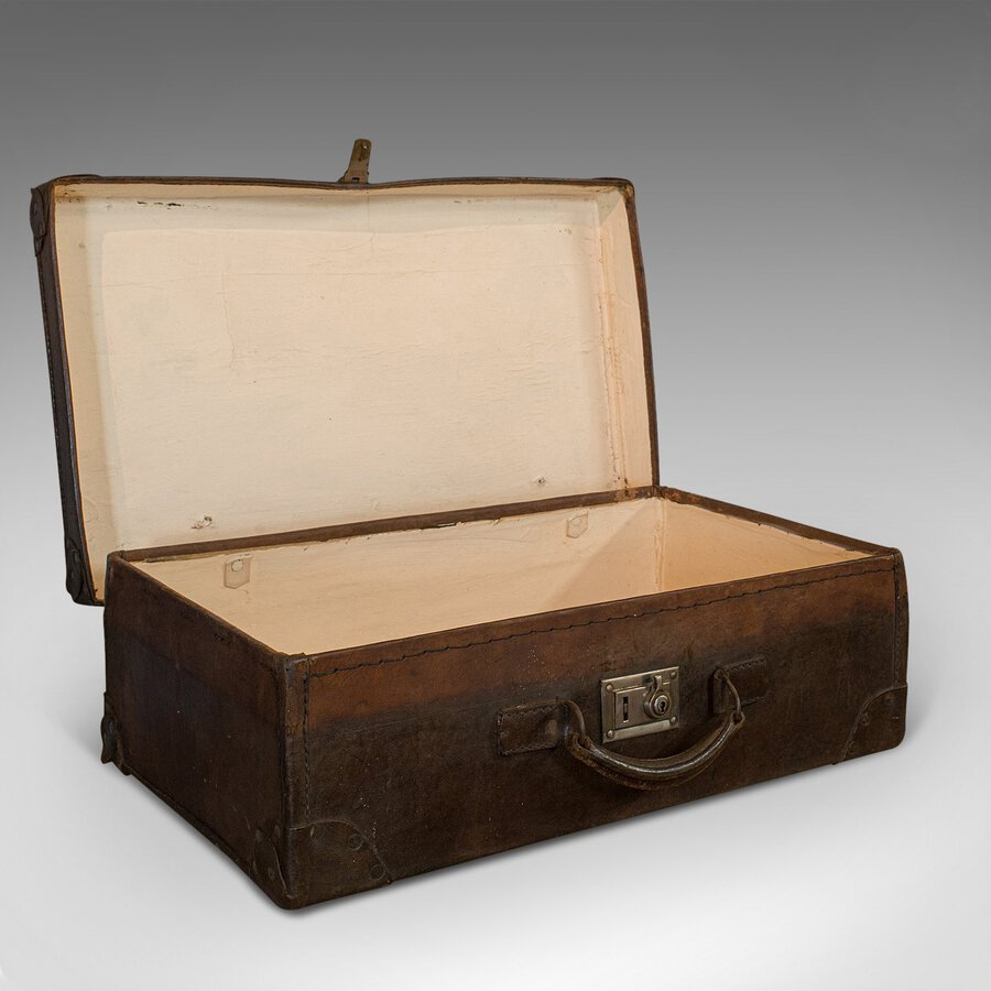 Antique Officer's Case, English, Leather, Travel, Suitcase, Luggage, C.1920