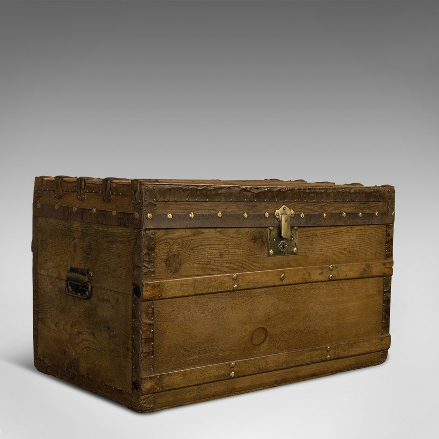 Antique Steamer Chest, English, Cedar, Shipping, Travel, Trunk, Victorian, 1900