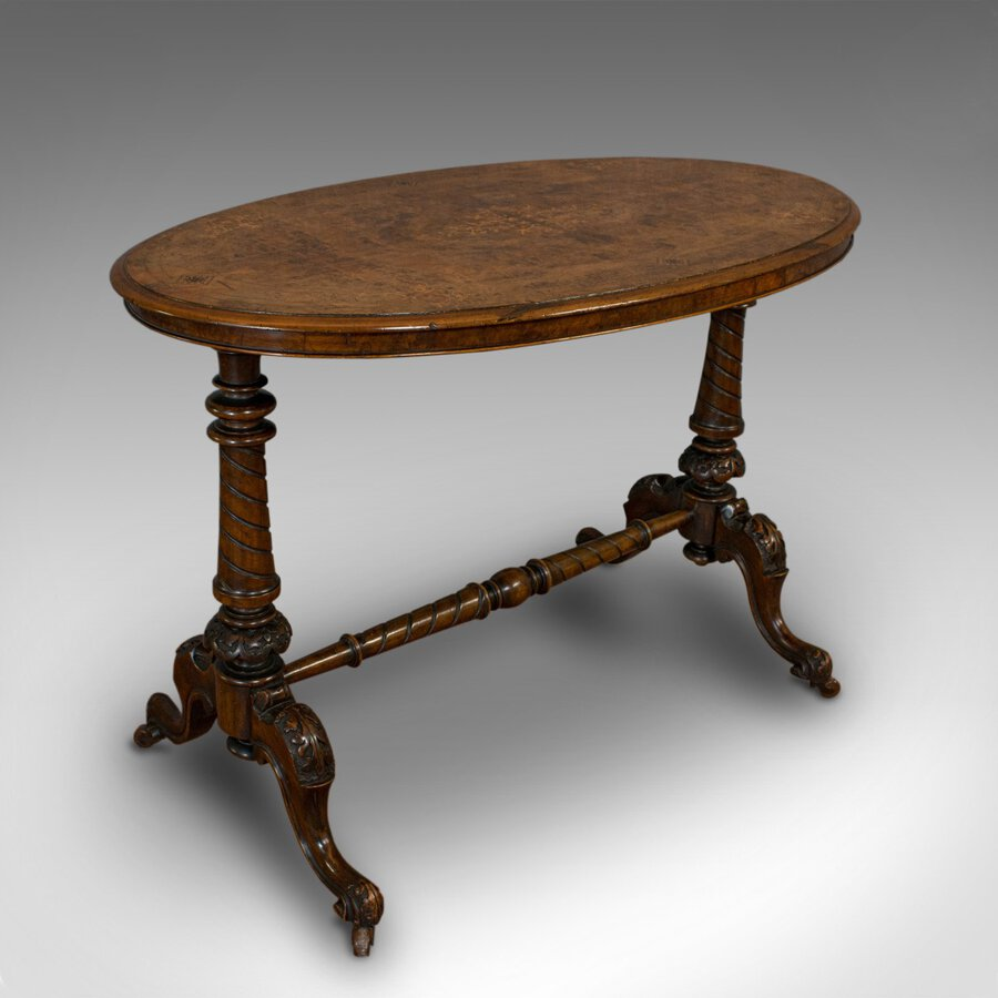 Antique Antique Oval Table, English, Burr Walnut, Centre, Side, Victorian, Circa 1870