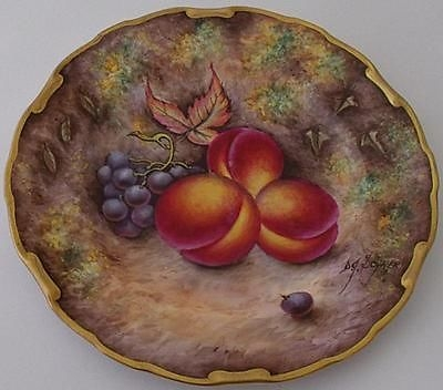 Antique Boeon Orb Malvern Fruit Painted Plate By David Scyner (Royal Worcester Artist)