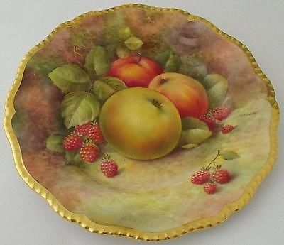 Antique Exquisite Fruit Painted Plate By Richard Budd (Former Royal Worcester Artist)