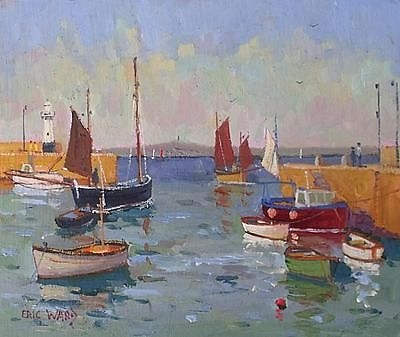 Antique Beautiful Eric Ward Original Oil Painting - Boats In St Ives Harbour Cornwall
