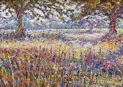 Antique Beautiful Clare Goodman Impressionist Landscape Oil Painting - Cornfield
