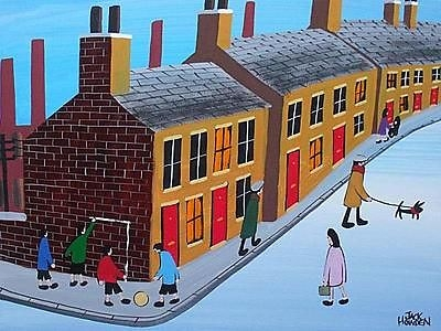 Antique Jack Howden Painting - Street Scene With People (Children) - Football Corner