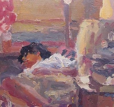 Antique John Harvey (St Ives Society Of Artists) Oil Painting Young Lady / Girl Sleeping