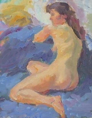 Antique Attractive John Harvey (St Ives Artist) Oil Painting - Portrait Of A Nude Lady