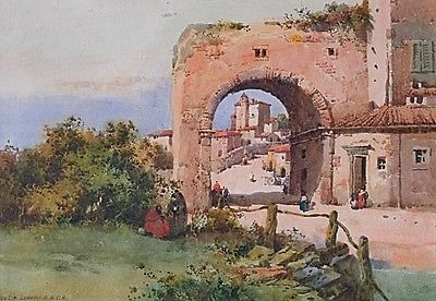 Antique Fine Noel Harry Leaver Watercolour Painting - Mediterranean Archway And Figures