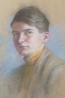 Antique Attractive Pastel Portrait Painting Of A Handsome Young Man - Early 20th Century