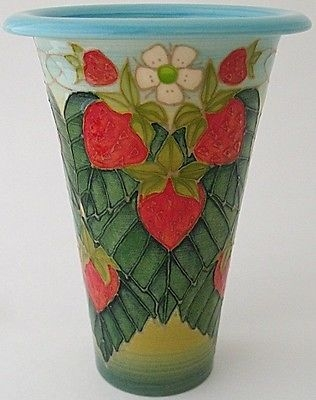 Antique Beautiful Dennis Chinaworks Strawberry Flute Vase Designed By Sally Tuffin