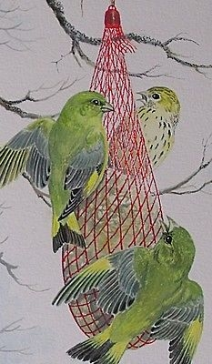 Antique Frances Fry Watercolour Painting Greenfinches (Birds) Eating From A Feeding Net
