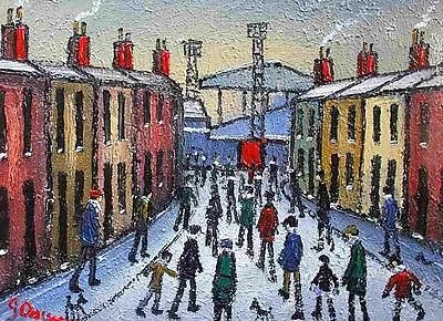 Antique James Downie Oil Painting - Matchday Scene Near Stockport County Football Ground